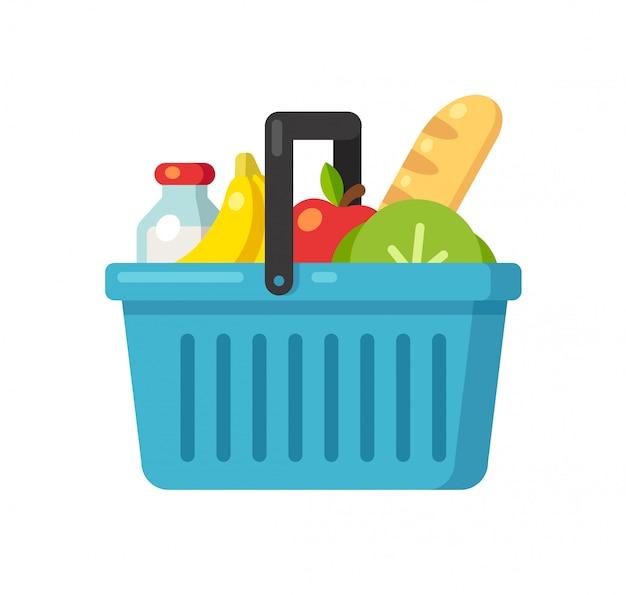 Icône de panier de supermarché de dessin animé avec de la nourriture.