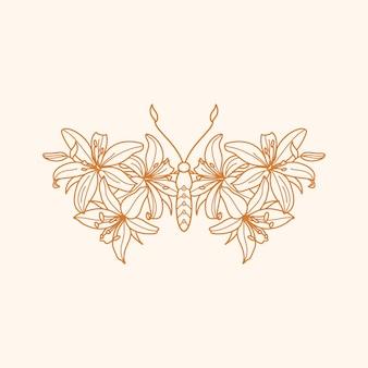 Icône de papillon floral dans un style branché minimaliste linéaire. contour vectoriel emblème des ailes avec des fleurs de lys pour créer des logos de salons de beauté, massages, spa, bijoux, tatouages, impression de t-shirt, affiches