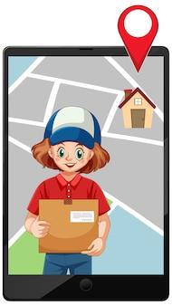 Icône de paquet de livraison fille sur lablet