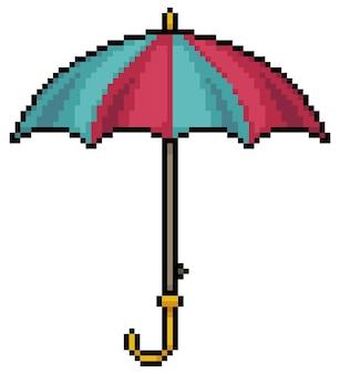 Icône de parapluie pixel art pour jeu de bits sur fond blanc