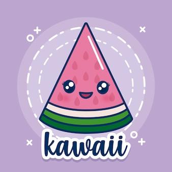 Icône de la pastèque kawaii