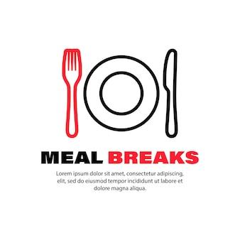 Icône de pauses repas. une pause. fourchette, cuillère, assiette. déjeuner diner. vecteur sur fond blanc isolé. eps 10