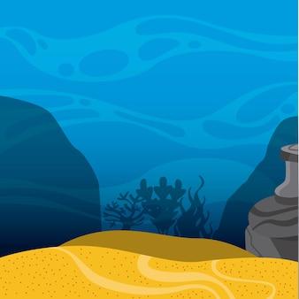 Icône de paysage sous la mer. conception de la vie marine graphique de vecteur