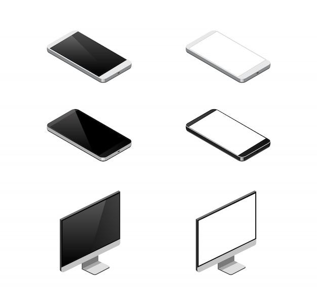 Icône de périphérique isométrique. smartphone isometria, moniteur