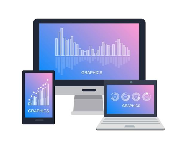 Icône de périphériques avec graphiques sur écran plat