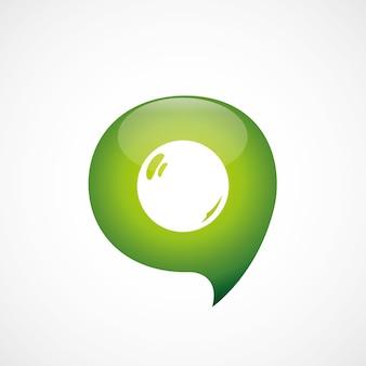 Icône de perle verte pense logo symbole bulle, isolé sur fond blanc