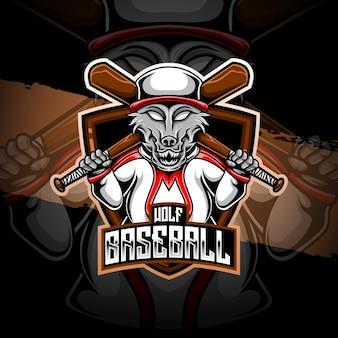 Icône de personnage de baseball loup logo esport