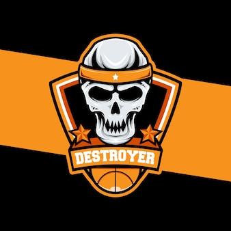Icône de personnage de crâne de logo de basket-ball