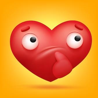 Icône de personnage de dessin animé coeur emoji réfléchie.