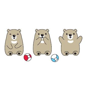 Icône de personnage de dessin animé ours en peluche polaire