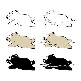 Icône de personnage de dessin animé ours polaire natation nounours