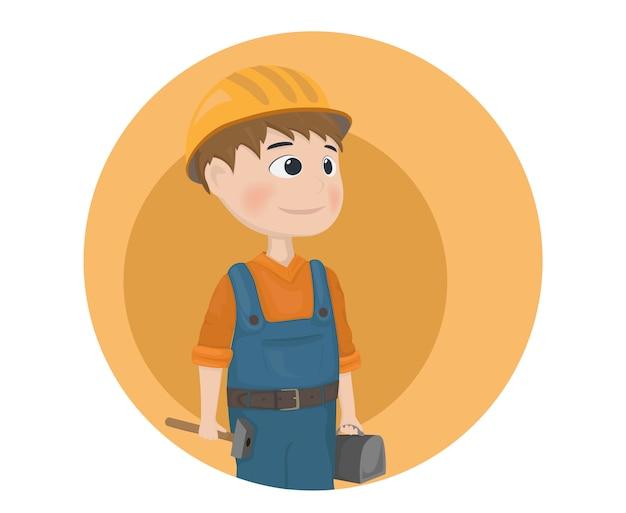 Icône de personnage de dessin animé travailleur de construction