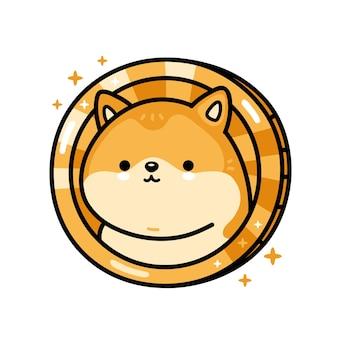 Icône de personnage dogecoin drôle mignon
