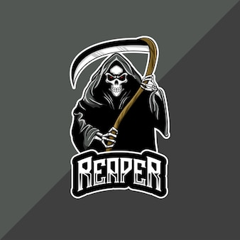 Icône de personnage de faucheuse avec logo esport