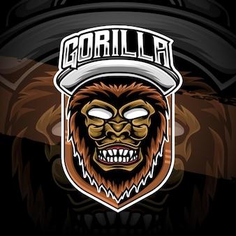 Icône de personnage de gorille logo esport