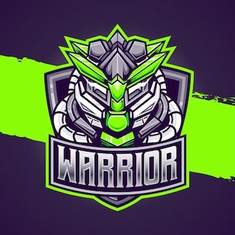 Icône de personnage de guerrier cyborg logo esport