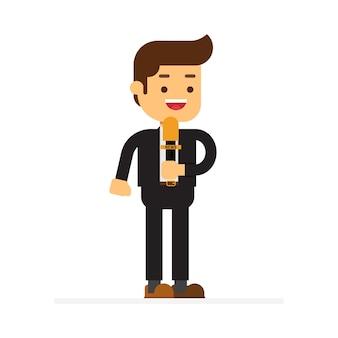 Icône de personnage homme avatar. journaliste journaliste au travail