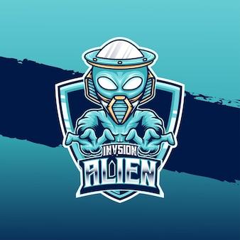 Icône de personnage d'invasion extraterrestre logo esport