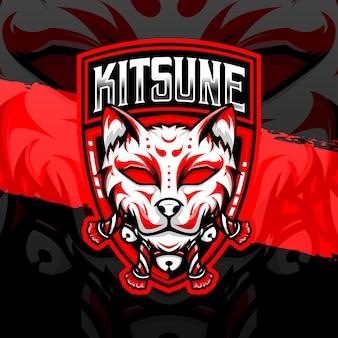 Icône de personnage kitsune logo esport