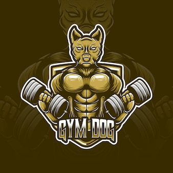 Icône de personnage de logo esport chien gym