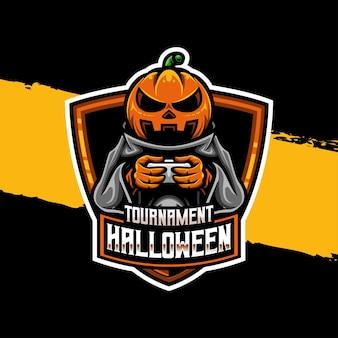 Icône de personnage de logo esport de tournoi halloween citrouille