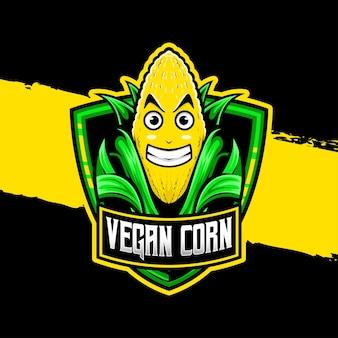 Icône de personnage de maïs végétalien logo esport