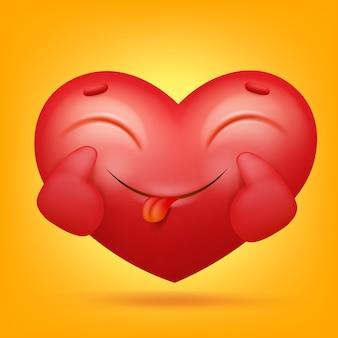 Icône de personnage smiley emoji coeur dessin animé