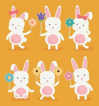 Icône de personnages de lapins mignons