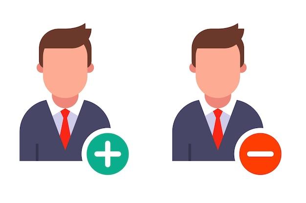 Icône de personne avec signe moins et plus rond.