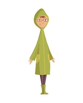 Icône de personnes de dessin animé drôle de mauvais temps pluvieux venteux