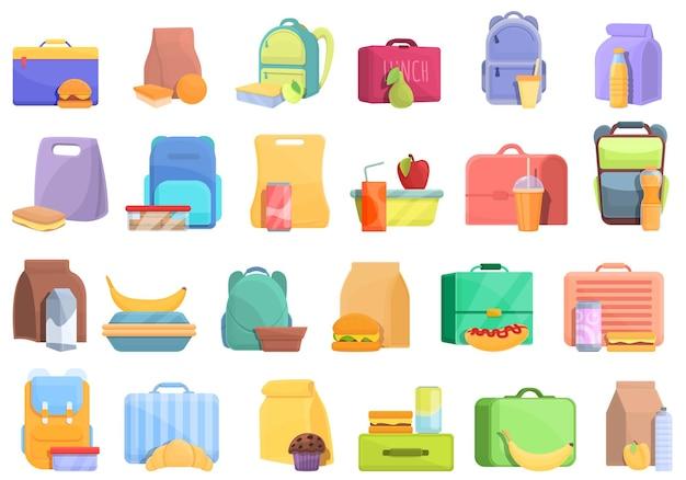 Icône de petit déjeuner scolaire. caricature de l'icône vecteur petit-déjeuner scolaire pour la conception web isolé sur fond blanc