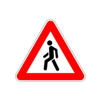 Icône de piéton sur le panneau de signalisation rouge et blanc triangle sur blanc