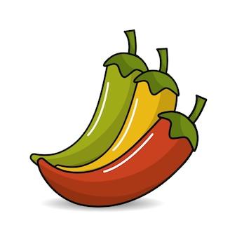 Icône de piment jaune, rouge et vert