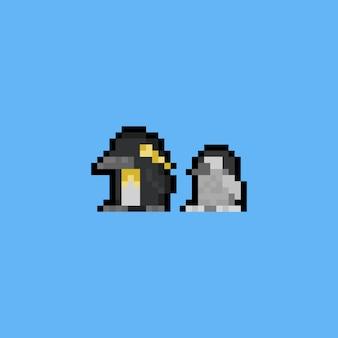 Icône de pingouin dessin animé pixel art.