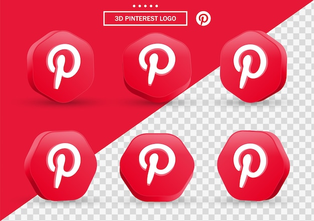 Icône pinterest 3d dans un cadre de style moderne et un polygone pour les logos d'icônes de médias sociaux