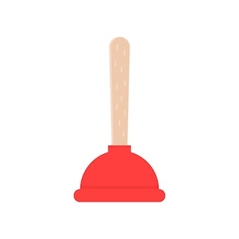 Icône de piston rouge. concept de nettoyage, problème, drainage, enlever les ordures, les eaux usées, la pollution, les travaux ménagers, le nettoyage, le vantuz. conception graphique de logo moderne tendance style plat sur fond blanc