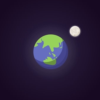 Icône de planète bleue mignonne de terre. espace d'illustration de dessin animé.
