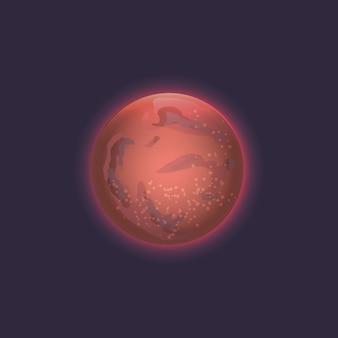 Icône de la planète mars dans l'espace lointain