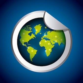 Icône de la planète. sticker design. graphique de vecteur