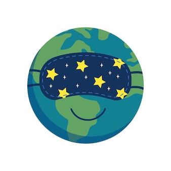 Icône de la planète terre endormie dans un masque de sommeil. l'heure de la terre. journée mondiale du sommeil. télévision illustration vectorielle