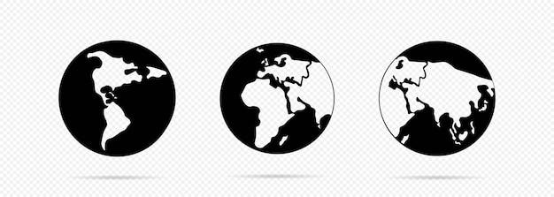 Icône de la planète terre en noir. carte du monde. pour bannière web, web et mobile, infographie. vecteur sur fond transparent isolé. eps 10