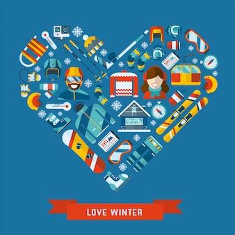 Icône plate activité hiver en forme de coeur. modèle de bannière de concept hiver amour.