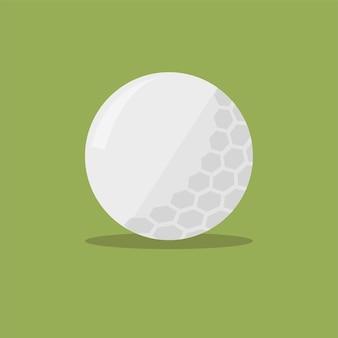 Icône plate de balle de golf avec ombre sur fond vert. illustration vectorielle au design plat simple