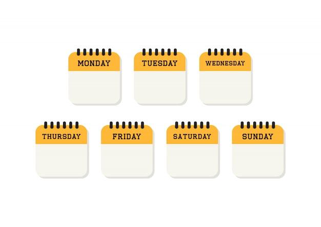 Icône plate de calendrier semaine