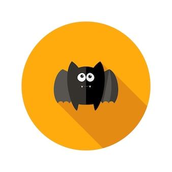 Icône plate de chauve-souris d'halloween avec des crocs. illustration vectorielle