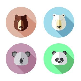 Icône plate de tête d'ours koala panda
