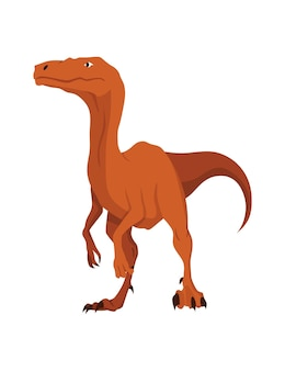 Icône plate de dinosaure t-rex. monstre de reptile préhistorique isolé de couleur sur fond blanc. animal dino de dessin animé de vecteur