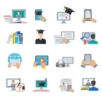 Icône plate de l'éducation en ligne