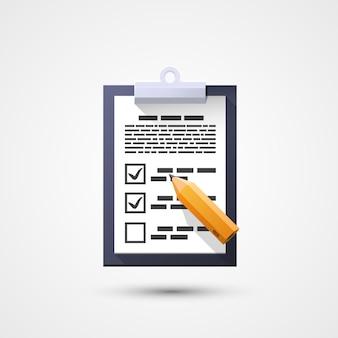 Icône plate d'enquête, crayon document pad. élément de conception. illustration vectorielle