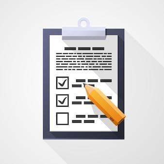 Icône plate d'enquête, crayon document pad. élément de conception